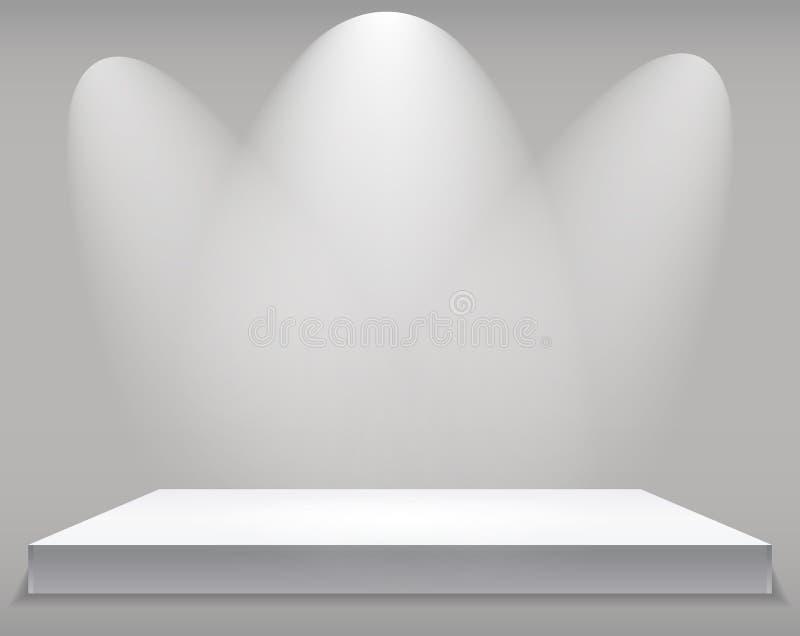 Powystawowy pojęcie, biel półki Pusty stojak z iluminacją na Szarym tle Szablon dla twój zawartości 3d Vecto ilustracji