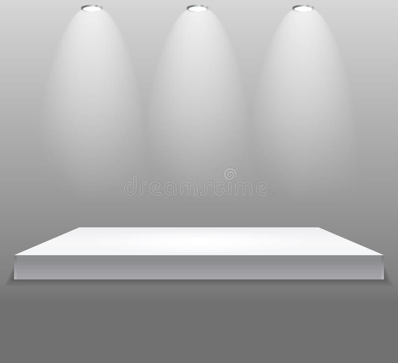 Powystawowy pojęcie, biel półki Pusty stojak z iluminacją na Szarym tle Szablon dla twój zawartości 3d Vecto ilustracja wektor