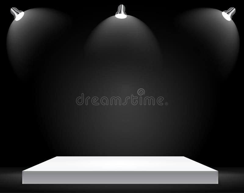 Powystawowy pojęcie, biel półki Pusty stojak z iluminacją na Szarym tle Szablon dla twój zawartości 3d Vecto royalty ilustracja
