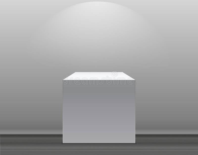 Powystawowy pojęcie, bielu Pusty pudełko, stojak z iluminacją na Szarym tle Szablon dla twój zawartości 3d wektor royalty ilustracja