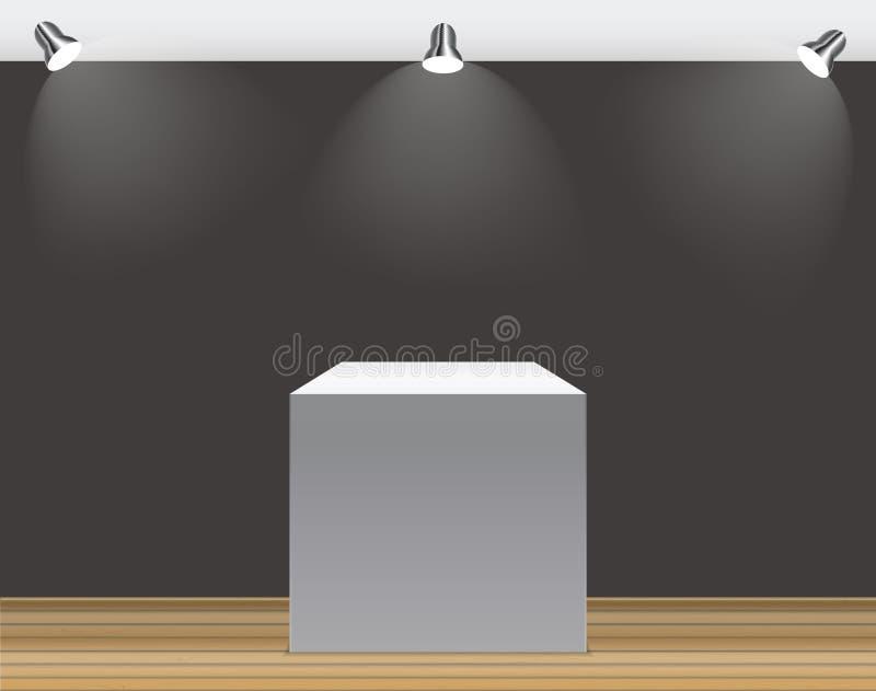 Powystawowy pojęcie, bielu Pusty pudełko, stojak z iluminacją na Szarym tle Szablon dla twój zawartości 3d wektor ilustracji