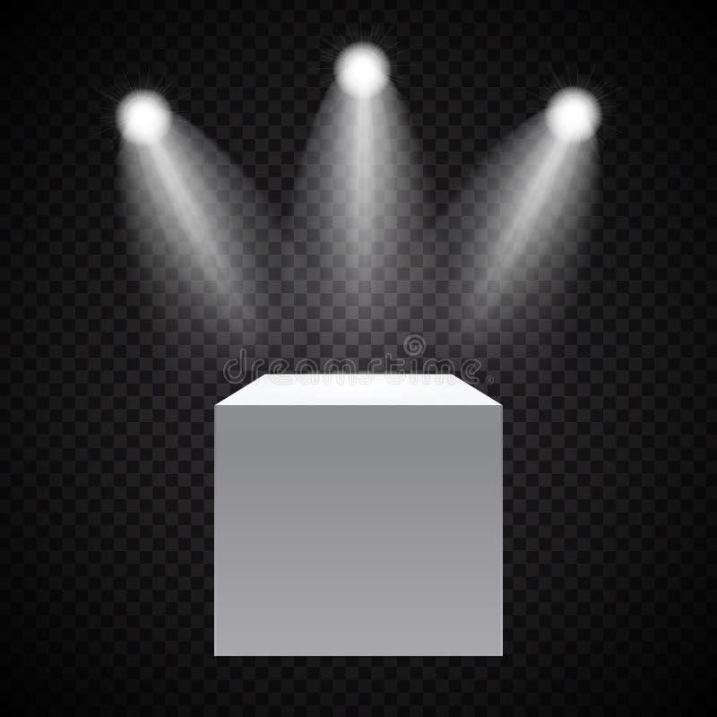 Powystawowy pojęcie, bielu Pusty pudełko, stojak z iluminacją na Szarym tle Szablon dla twój zawartości 3d wektor ilustracja wektor