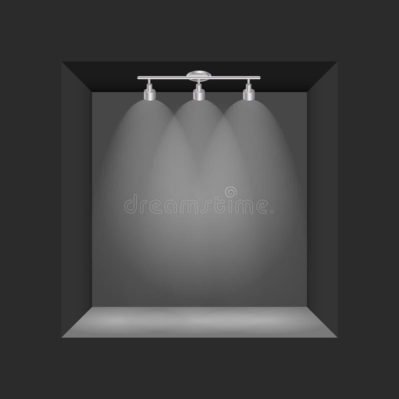 Powystawowy pojęcie, czerni Pusty pudełko, rama z iluminacją Szablon dla twój zawartości 3d ilustracja wektor royalty ilustracja