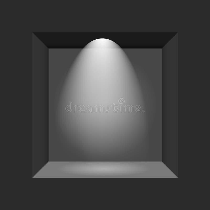 Powystawowy pojęcie, czerni Pusty pudełko, rama z iluminacją Szablon dla twój zawartości 3d ilustracja wektor ilustracja wektor
