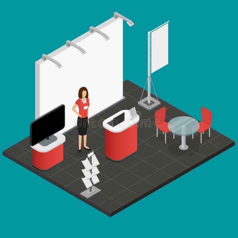 Powystawowy przedstawienie stojak dla prezentacja Isometric widoku wektor ilustracja wektor
