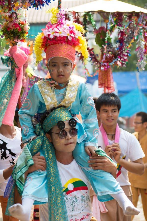 Poy Sang Long festival. royaltyfria bilder