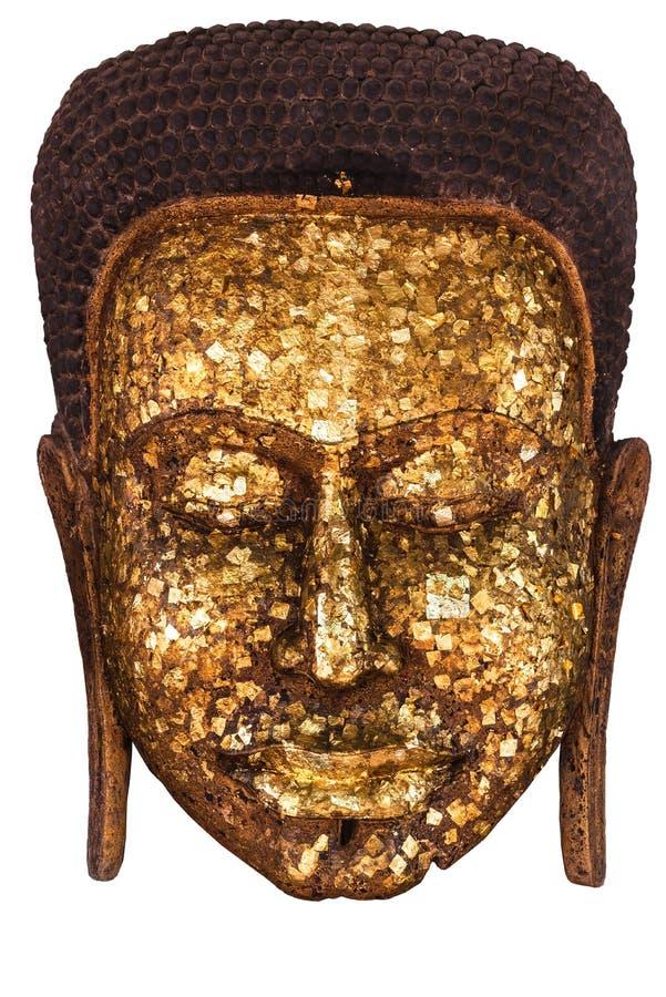 Pozłacanie zakrywać wizerunek Buddha z Błyszczącego żółtego liścia złocistą folią twarz Buddha statua uwielbiać przy który Buddyj fotografia stock