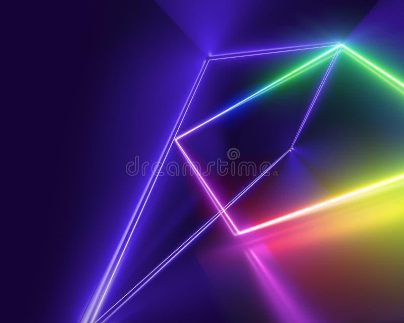 Pozafioletowe neonowe linie, laserowy przedstawienie, noc klubu wnętrze zaświecają, kolorowi jarzy się kształty, abstrakcjonistyc royalty ilustracja