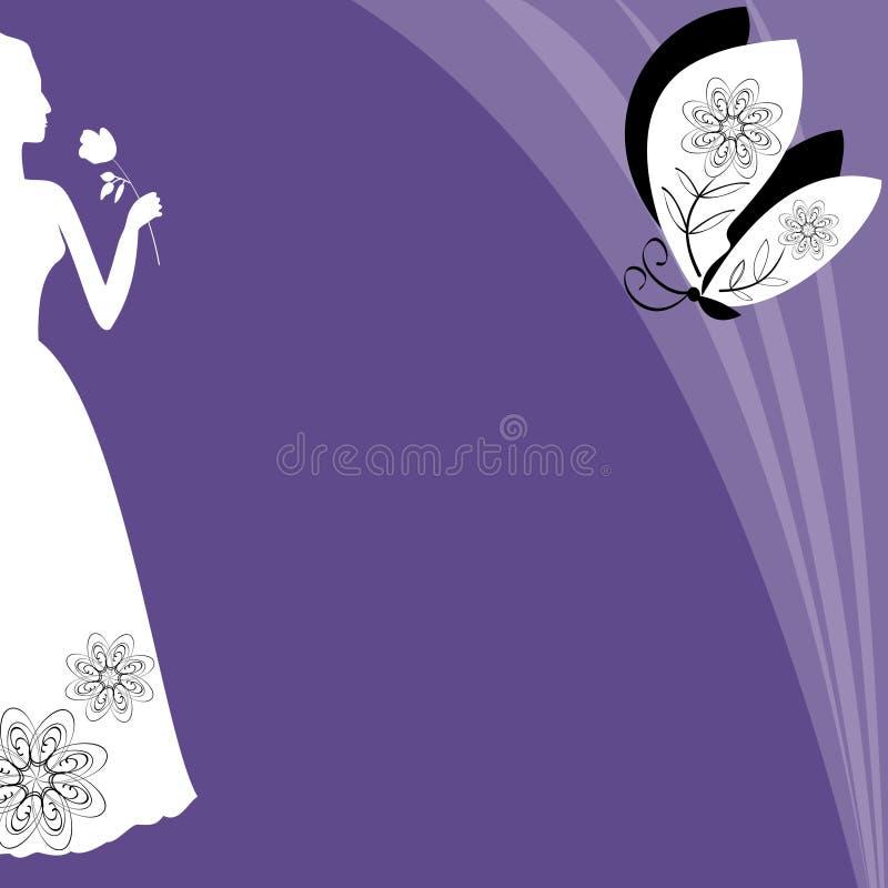 Pozafioletowy tło z wiktoriański damy sylwetką, modne purpury barwi łączy z białym, eleganckim szablonem, kobieta ilustracji