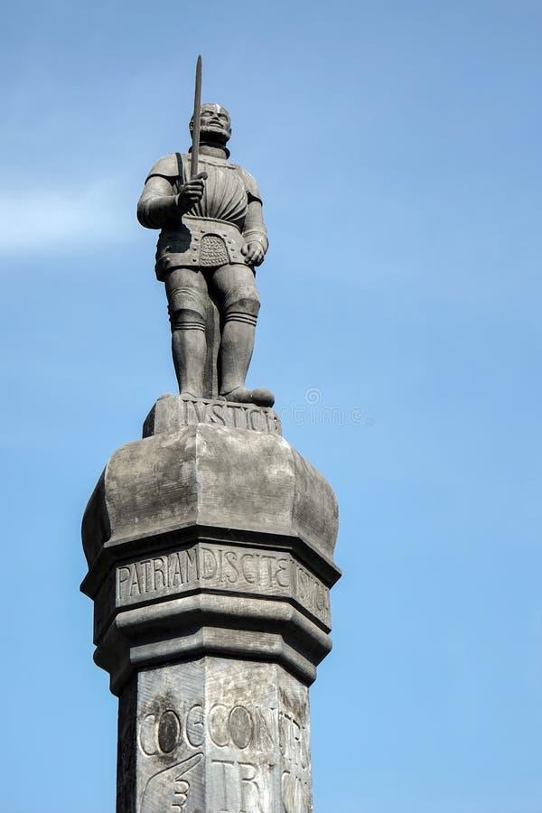 POZAN, POLAND/EUROPE - 16. SEPTEMBER: Pranger-Statue in Posen P lizenzfreie stockfotos