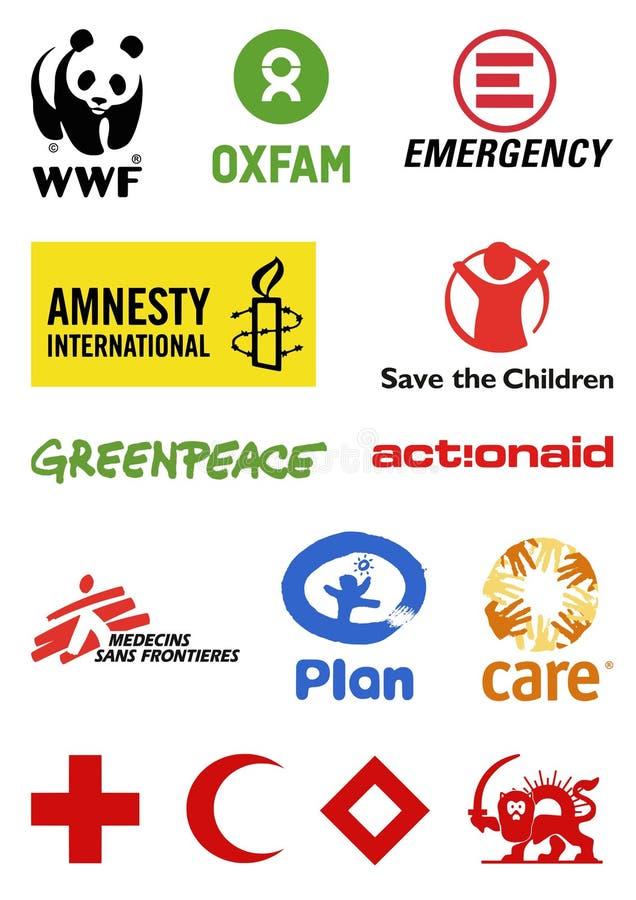 Pozarządowych organizacj logowie ilustracja wektor