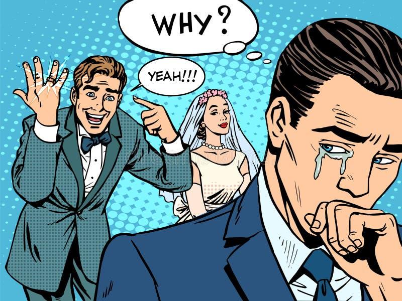 Pozazdroszczenie mężczyzna kobiety ślubu miłość ilustracja wektor