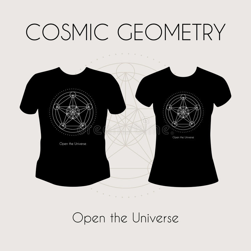 Pozaziemska geometrii koszulka ilustracja wektor