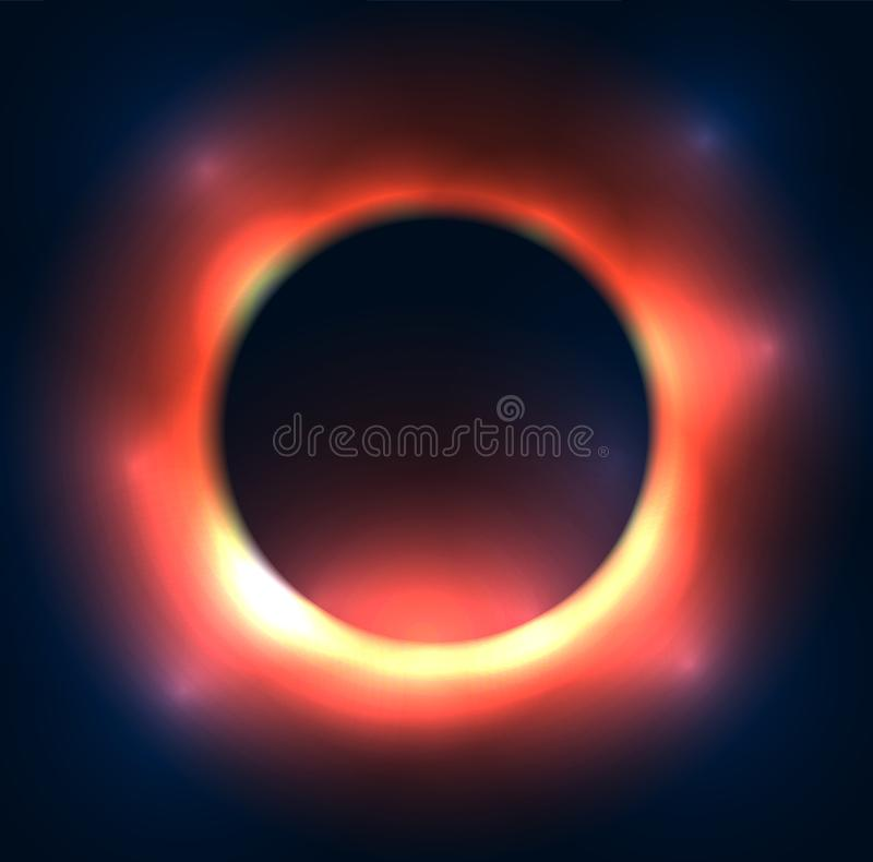 Pozaziemska ilustracja czarna dziura Wybuch stara gwiazda Defocused round rama z błyskami royalty ilustracja