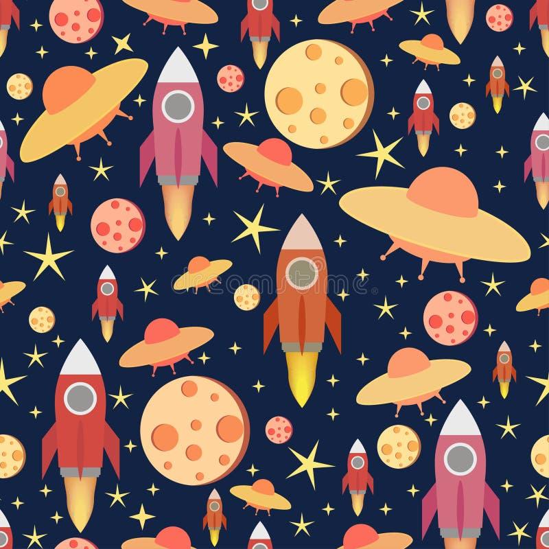 Pozaziemski Bezszwowy Wzór Kolorowy wektorowy druk z księżyc, pociskiem i gwiazdami, zdjęcia stock