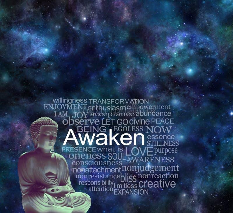Pozaziemski Buddha Mindfulness Obudzi medytacji pojęcie obraz stock