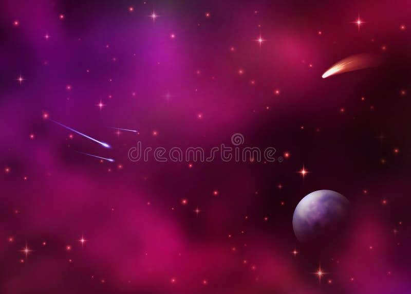 Pozaziemski galaxy tło z kolorową mgławicą, stardust i jaskrawymi jaśnienie gwiazdami, Kosmos z spada gwiazd kometą royalty ilustracja