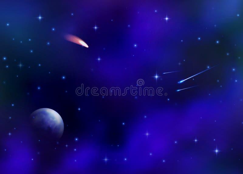 Pozaziemski galaxy tło z mgławicą, milky sposób ilustracja wektor