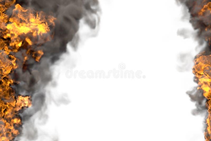 Pozaziemski palenie ogień z ciężkiego dymu ramą odizolowywającą na bielu - pożarnicze linie od stron lewica i prawica, wierzchołe royalty ilustracja