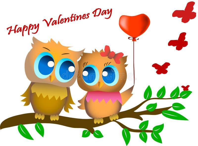 2007 pozdrowienia karty szczęśliwych nowego roku szczęśliwy dzień valentine s Kartka z pozdrowieniami wizerunek z ślicznymi sowam royalty ilustracja