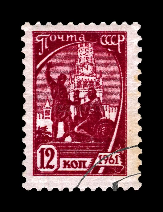 Pozharsky and Minin monument statue on Red Square, Russia, circa 1961,. MOSCOW, USSR RUSSIA - CIRCA 1961: canceled stamp printed in USSR Russia shows Pozharsky royalty free stock image