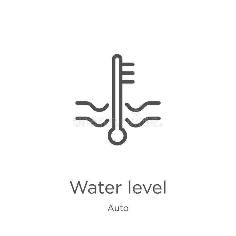 poziom wody ikony wektor od auto kolekcji Cienka kreskowa pozioma wodego konturu ikony wektoru ilustracja Kontur, cienka linii wo royalty ilustracja