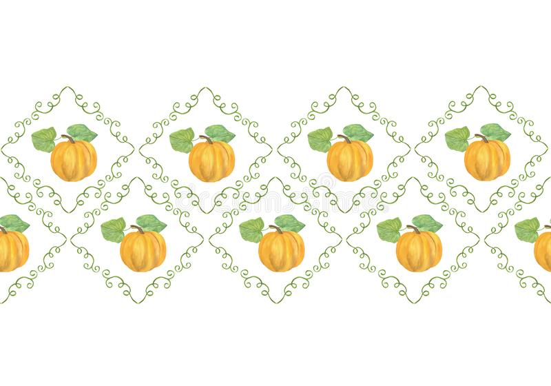 Pozioma krawędź ręcznie narysowanej ramy dyni w postaci pachnka, akwarela, jesienna ilustracja, kwiatowy symbol jesieni royalty ilustracja