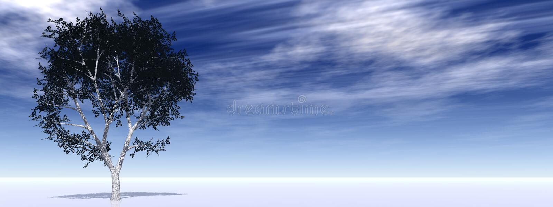 poziomy banner horizon pojedynczy drzewo ilustracji