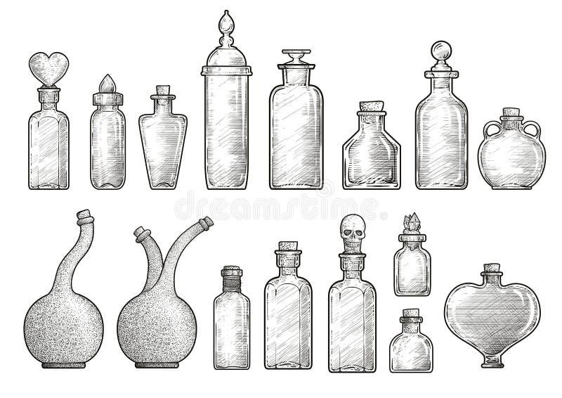Pozione, illustrazione della bottiglia della medicina, disegno, incisione, inchiostro, linea arte, vectorPotion, illustrazione de royalty illustrazione gratis