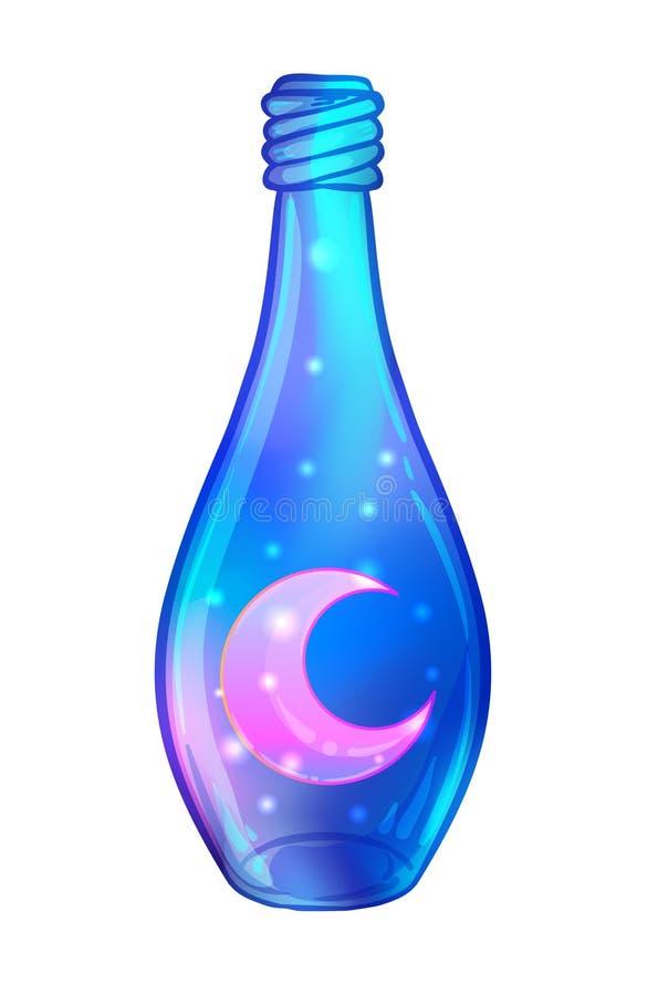 Pozione magica: barattolo blu della bottiglia con i cuori rosa e le stelle d'ardore royalty illustrazione gratis