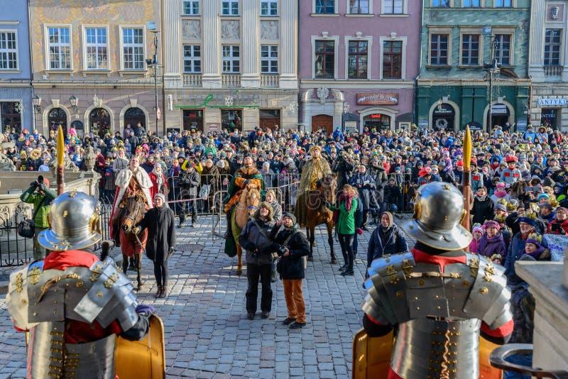 Poznán, Polonia - 6 de enero de 2017: Día de fiesta de la epifanía en la religión cristiana foto de archivo