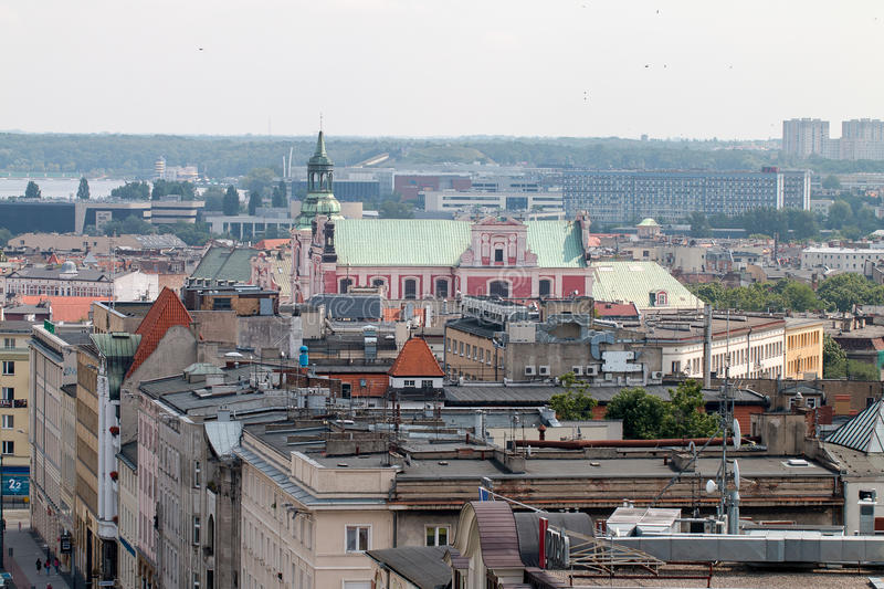 Poznań panorama from roof. royalty free stock image