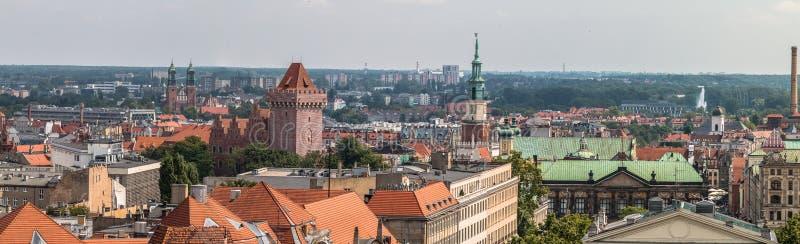 Poznań panorama from roof. stock photos
