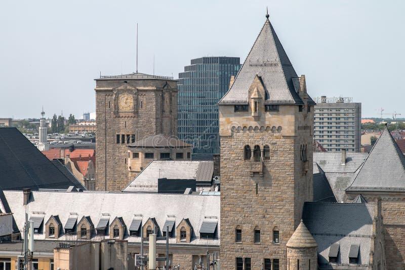 Poznań panorama from roof. stock photo