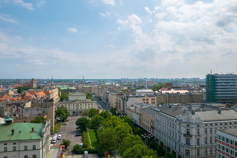 Poznań panorama from roof. stock photography