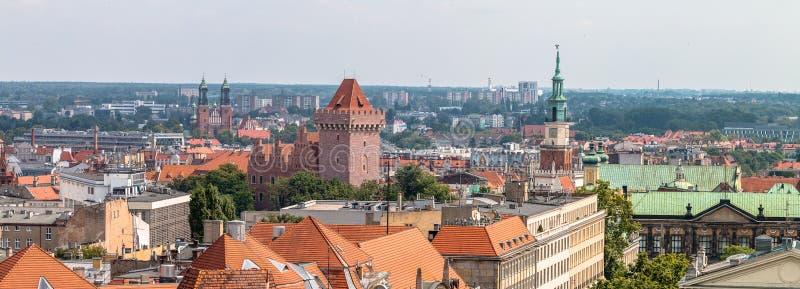 Poznań panorama from roof. stock image
