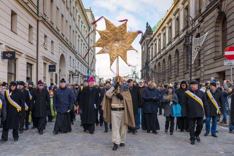 Poznański, Polska, Styczeń - 6, 2017: Objawienie Pańskie wakacje w Chrześcijańskiej religii fotografia royalty free