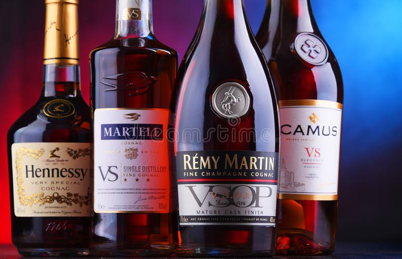 Bottles of famous Cognac brands. POZNAN, POL - NOV 16, 2018: Bottles of famous Cognac brands including Martell, Camus, Hennessy and Remy Martin royalty free stock photo