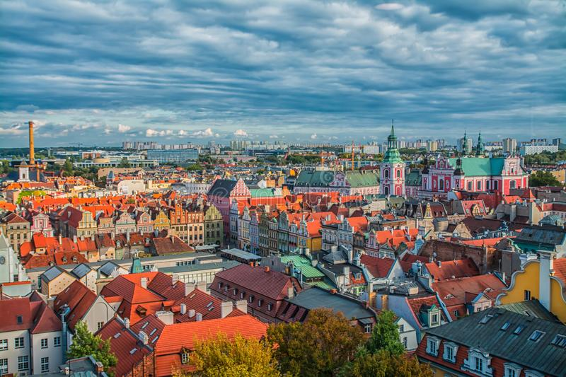 Poznan, Poland 2018-09-22, Beautiful Poznan colorful old city, colorful houses, monumental, historic building and fountain, old ma royalty free stock images