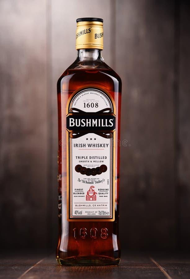 Bottle of Bushmills Original Irish whiskey. POZNAN, POLAND - DEC 15, 2017: Bottle of Bushmills Original Irish whiskey, product of Old Bushmills Distillery stock photo