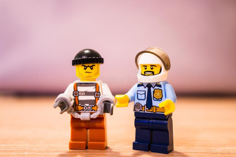 Lego police and thief stock image