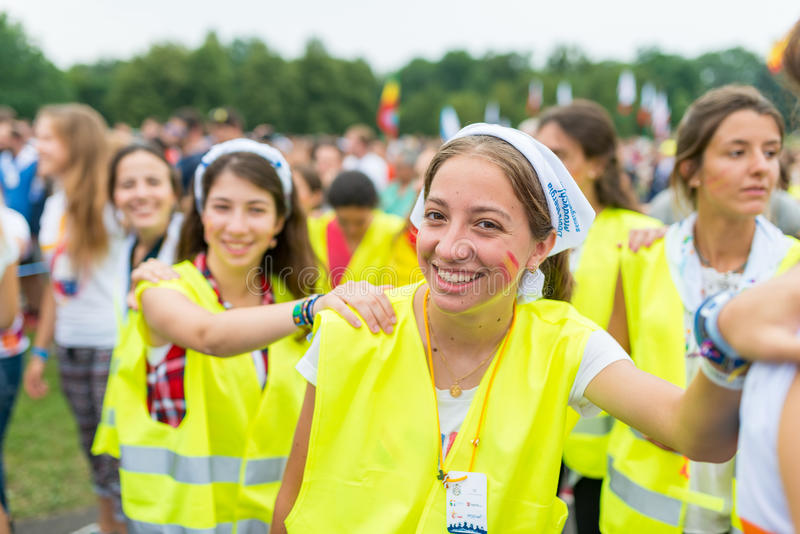 Poznan, POLAND - JULY 24, 2016: pilgrims praying, dancing and singing during Days In Dioceses just before The World Youth Day in. Krakow; WYD is a meeting of stock image