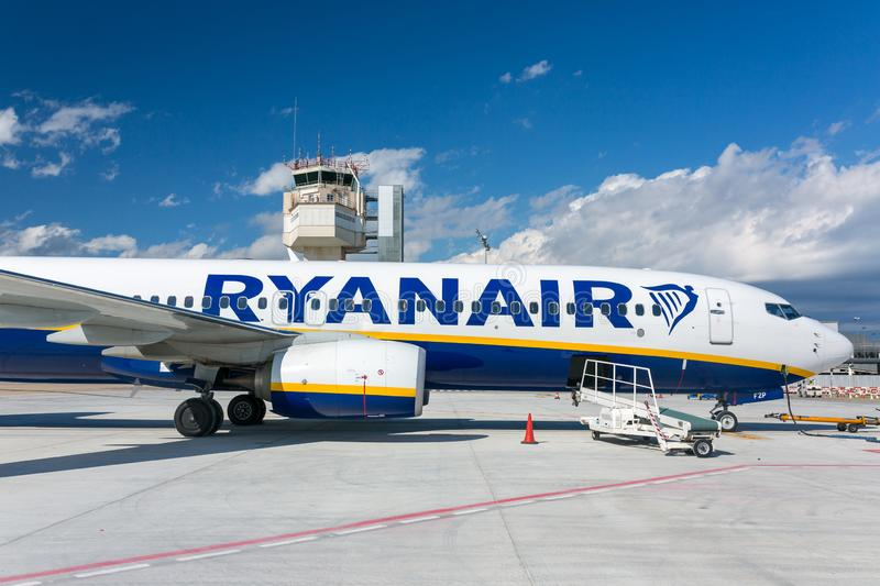 Ryanair airline airplane Boeing 737 in Poznan airport in a sunny day. Poznan, Poland - March 29, 2018: Ryanair airline airplane Boeing 737 in Poznan airport in a royalty free stock photography