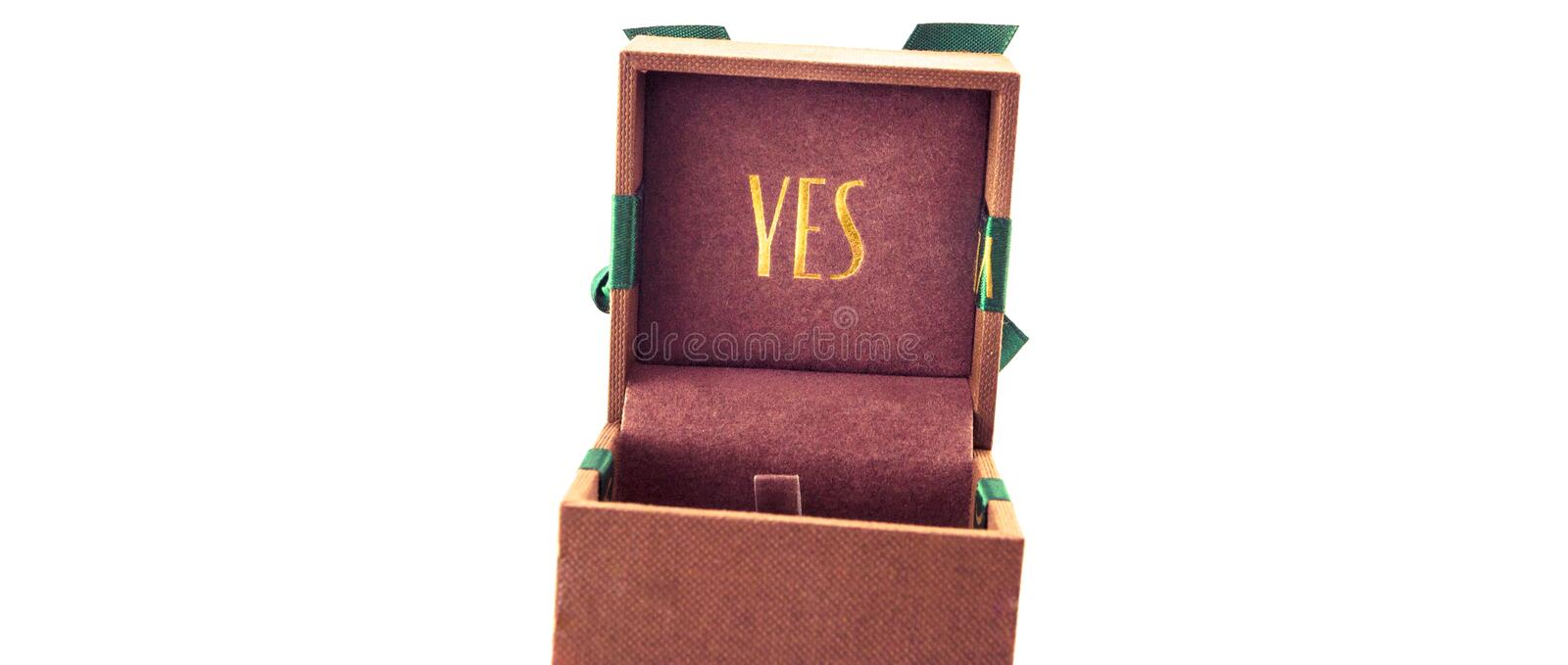 Poznan/Poland, 25 March 2014 - Will you marry me, Yes, wedding ring, marriage stock photography