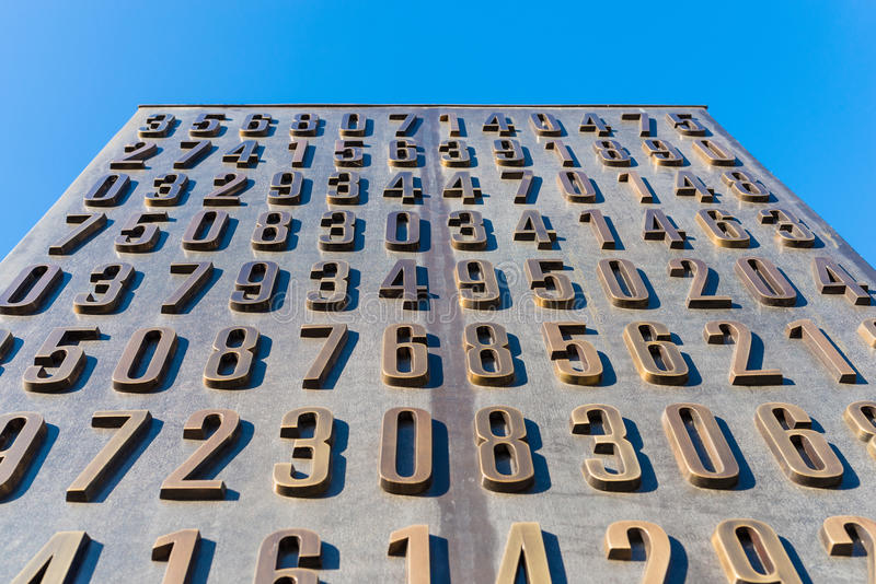 Poznan, POLAND - September 06, 2016: Monument of Polish cryptologists (Enigma Codebrakers). Breaking the Enigma cipher during World War II stock photos