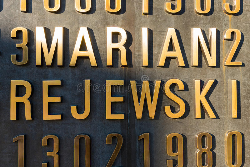 Poznan, POLAND - September 06, 2016: Monument of Polish cryptologists (Enigma Codebrakers). Breaking the Enigma cipher during World War II royalty free stock photos