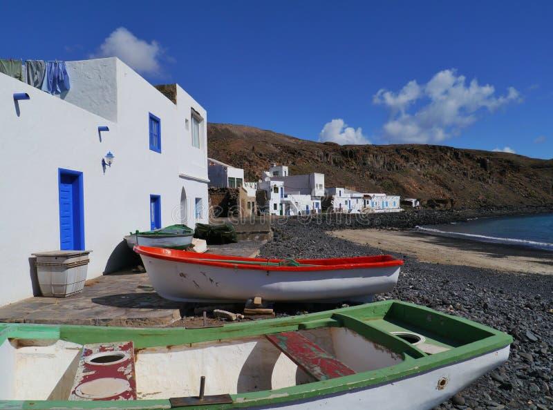Pozo黑人费埃特文图拉岛的一个渔夫村庄 库存照片