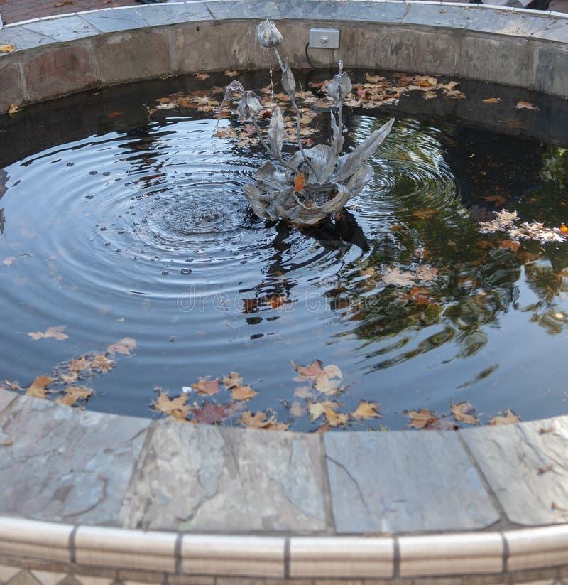 Pozo que desea al aire libre con la pieza central de la escultura foto de archivo libre de regalías