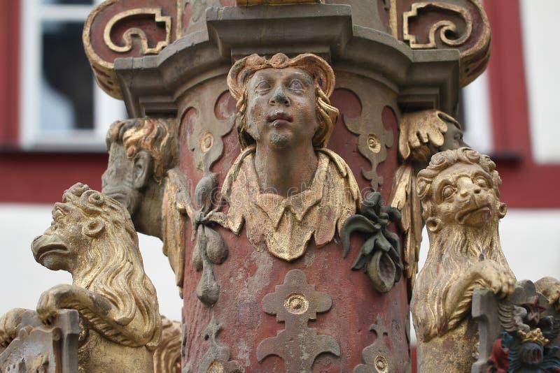 Pozo urbano en el der Tauber, Alemania del ob de Rothenburg foto de archivo libre de regalías