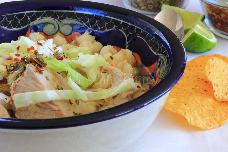 Pozole Mexican Pork and Hominy Corn soup stock images